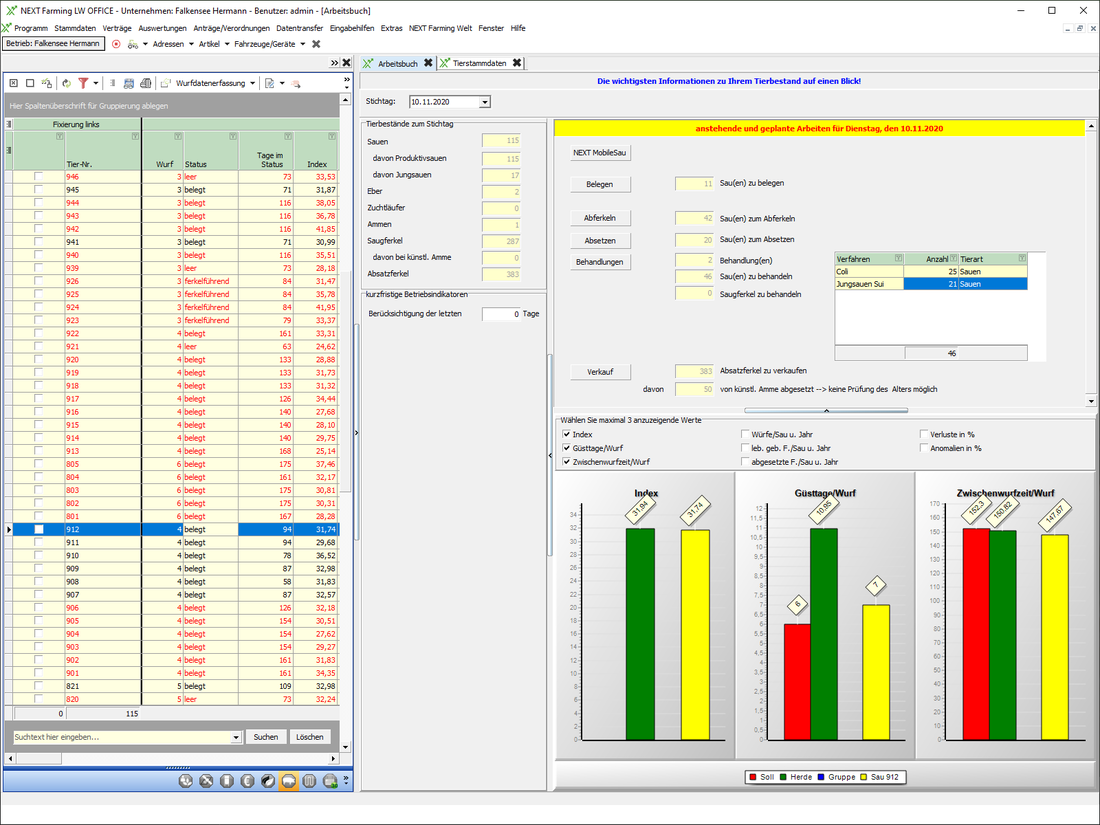 Screenshot des Moduls Stallbuch Sau der NEXT Farming Software LW Office.