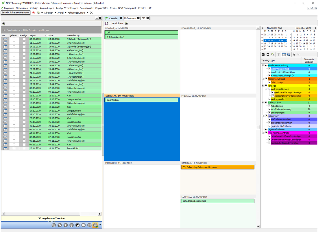 Screenshot des Moduls Kalenderfunktionen/Dispomanagement der NEXT Farming Software LW Office.