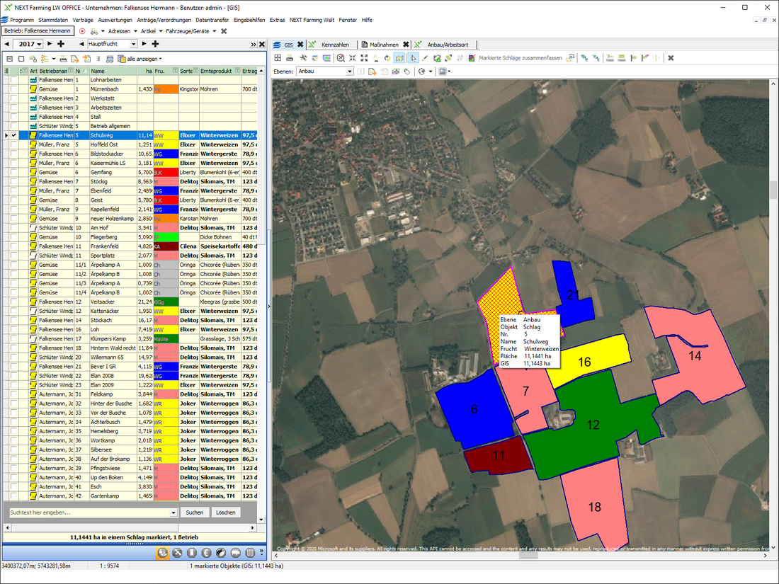 Screenshot des Moduls GIS der NEXT Farming Software LW Office.